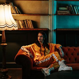 Damskie dresy welurowe Neonowy Orange