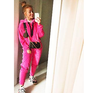 Damskie dresy welurowe Pink