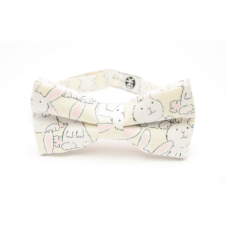 white bow tie with rabbits from Edyta Kleist