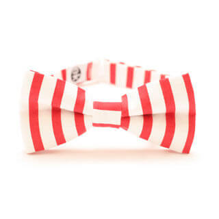 white-red bow tie with stripes for men